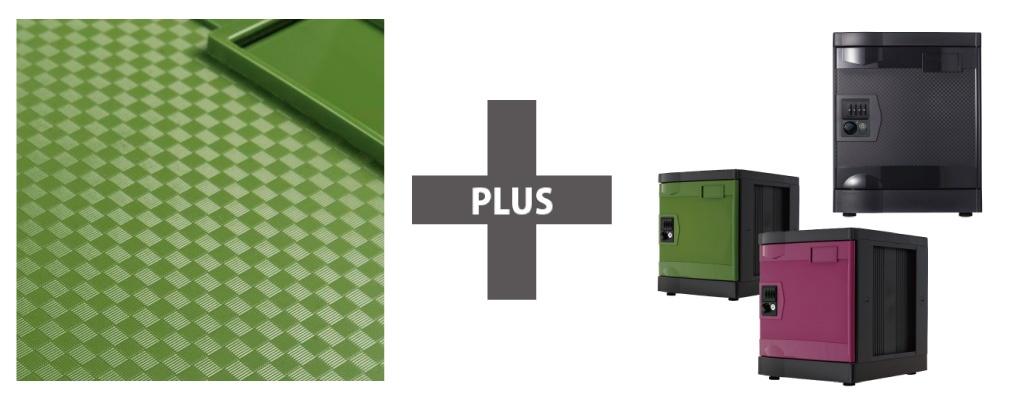 プラロッカープラスは市松模様の扉で和色を取り入れた抗菌ロッカー